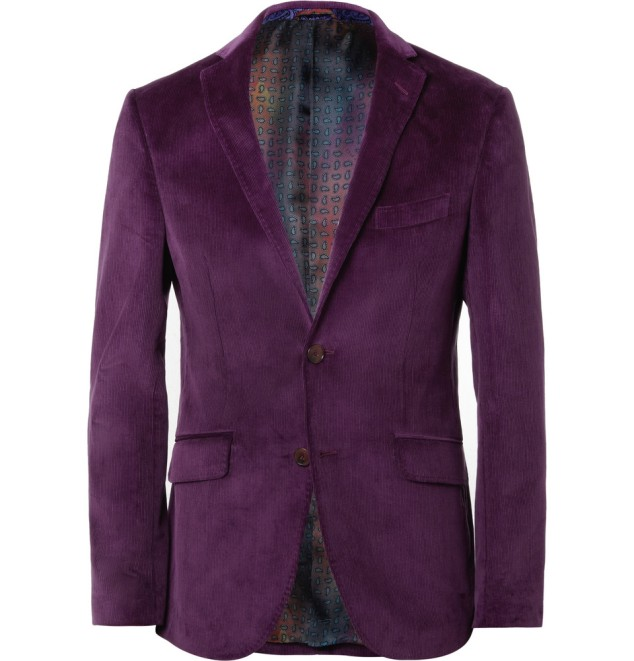 Etro slim fit Corduroy Blazer - love the color.  Available here